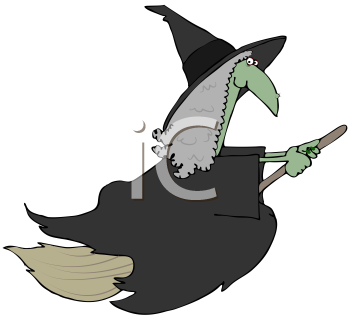Royalty Free Clipart Image of a Witch Riding a Broom