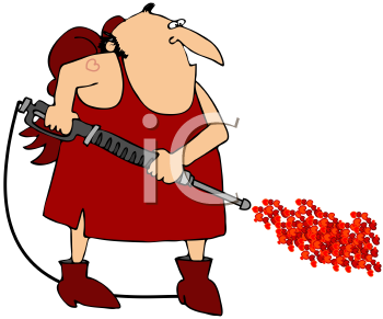 Royalty Free Clipart Image of Cupid With A Pressure Washer
