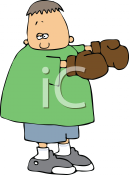Royalty Free Clipart Image of a Boy Wearing Boxing Gloves