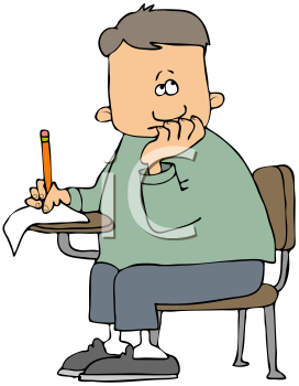 Royalty Free Clipart Image of A Boy Taking A Test