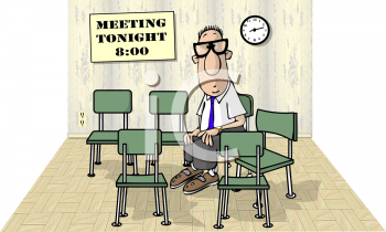 Royalty Free Clipart Image of a Man Sitting in an Empty Room