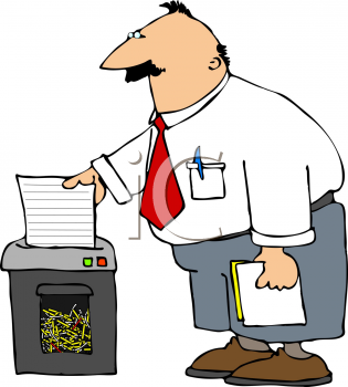 Royalty Free Clipart Image of a Businessman Using a Shredder