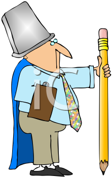 Royalty Free Clipart Image of a Man Wearing a Garbage Pan on His Hand and Holding a Large Pencil