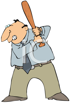 Royalty Free Clipart Image of a Man Holding a Baseball Bat