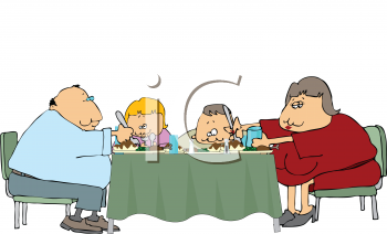 Royalty Free Clipart Image of an Obese Family Eating