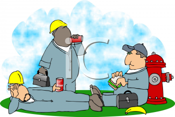 Royalty Free Clipart Image of Men Taking a Lunch Break