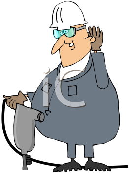 Royalty Free Clipart Image of a Man With a Jackhammer