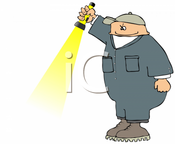 Royalty Free Clipart Image of a Man Holding a Flashlight