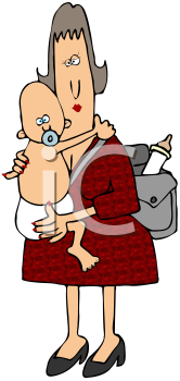 Royalty Free Clipart Image of a Mother and Child