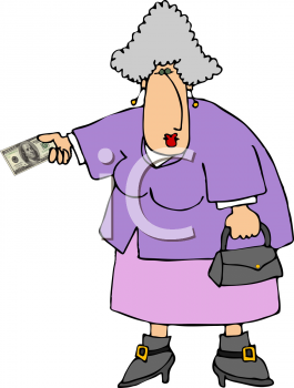 Royalty Free Clipart Image of an Old Woman Paying With Cash