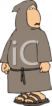 Royalty Free Clipart Image of a Hooded Monk