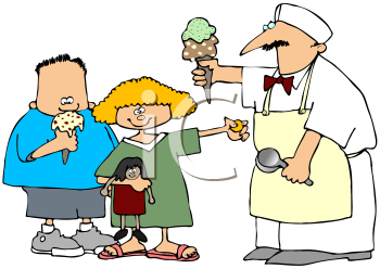 Royalty Free Clipart Image of the Ice Cream Man With Children