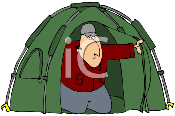 Royalty Free Clipart Image of a Man In A Tent