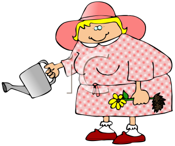 Royalty Free Clipart Image of a Woman Holding a Watering Can