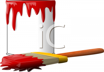 Royalty Free Clipart Image of a Paintbrush and Can