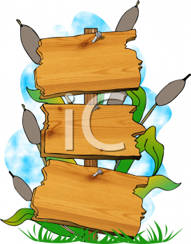 Royalty Free Clipart Image of Swamp Signs