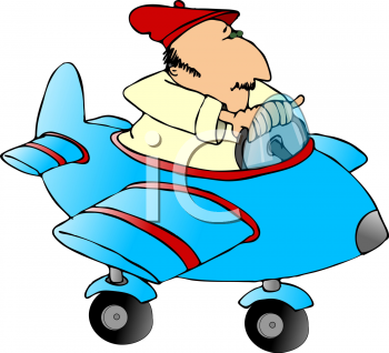 Royalty Free Clipart Image of a Man in an Airplane