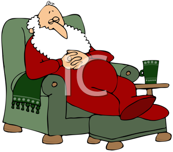 Royalty Free Clipart Image of Santa in a Green Chair