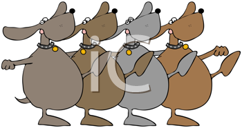 Royalty Free Clipart Image of a Dog Chorus Line