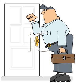 Royalty Free Clipart Image of a Repairman Knocking on a Door
