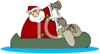 Royalty Free Clipart Image of Santa Delivering Toys in a Canoe
