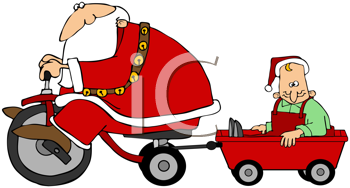 Royalty Free Clipart Image of Santa on a Trike With an Elf in a Wagon