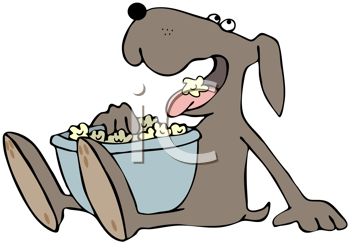 Royalty Free Clipart Image of a Dog Eating Popcorn