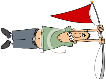 Royalty Free Clipart Image of a Man Hanging On to a Flag in a High Winde