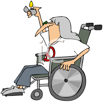 Royalty Free Clipart Image of an Old Hippie in a Wheelchair Holding a Lighter