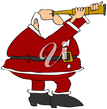 Royalty Free Clipart Image of Santa With a Telescop