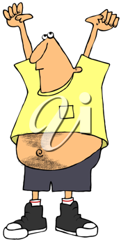 Royalty Free Clipart Image of a Man in a Short Shirt With His Arms Raised