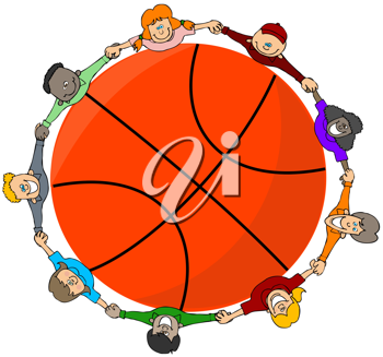 Royalty Free Clipart Image of Children Around a Basketball