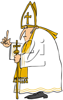 Royalty Free Clipart Image of the Pope With His Finger Raised