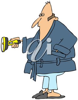 Royalty Free Clipart Image of a Man in a Bathrobe Holding a Flashlight