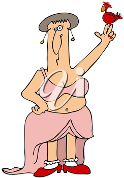 Royalty Free Clipart Image of a Woman Goddess With a Bird