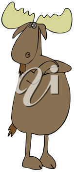 Royalty Free Clipart Image of a Moose With His Arms Crossed