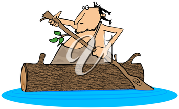 Royalty Free Clipart Image of a Caveman in a Canoe