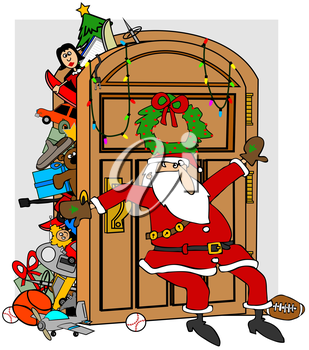 Royalty Free Clipart Image of Santa Holding Back Gifts