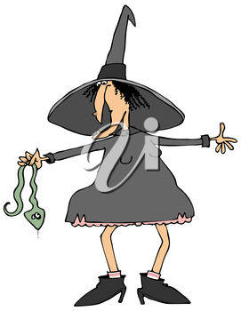Royalty Free Clipart Image of a Witch Holding a Snake