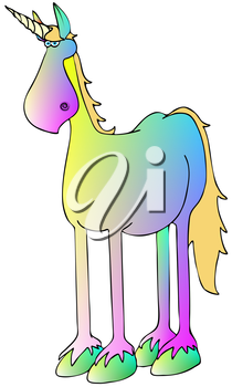 Royalty Free Clipart Image of a Rainbow Coloured Unicorn