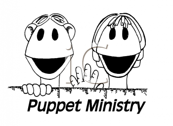 Royalty Free Clipart Image of Two Puppets