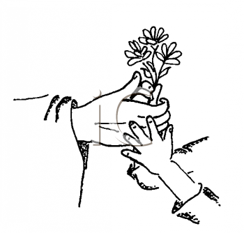Royalty Free Clipart Image of Hands and Flowers