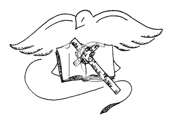 Royalty Free Clipart Image of a Dove, Bible and Cross