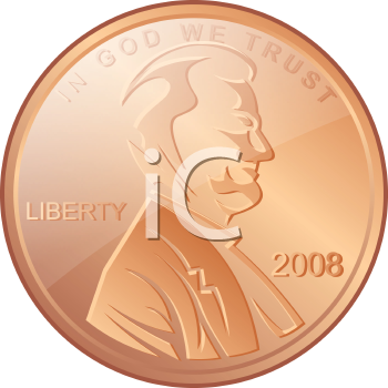 Royalty Free Clipart Image of an American Coin