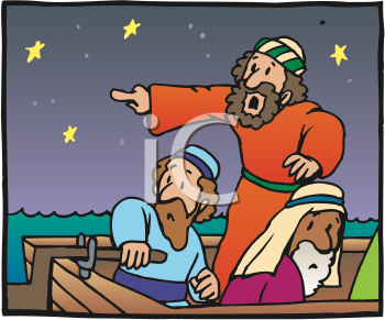 Royalty Free Clipart Image of Men on a Boat