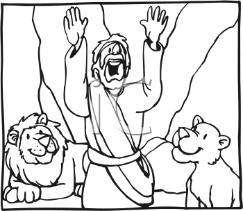 Royalty Free Clipart Image of a Man Among Lions