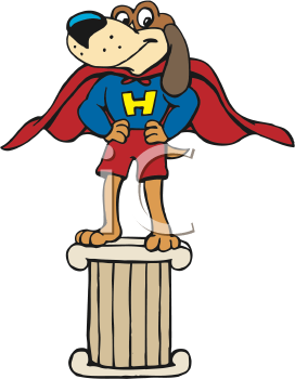 Royalty Free Clipart Image of a Superhero Dog Standing on a Pillar