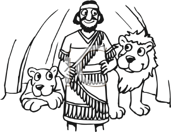 Royalty Free Clipart Image of a Man Standing in a Cave With Lions