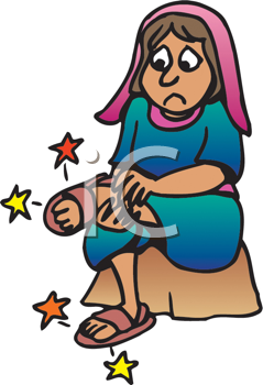 Royalty Free Clipart Image of a Girl With Sore Feet
