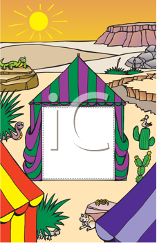 Royalty Free Clipart Image of Tents in a Desert